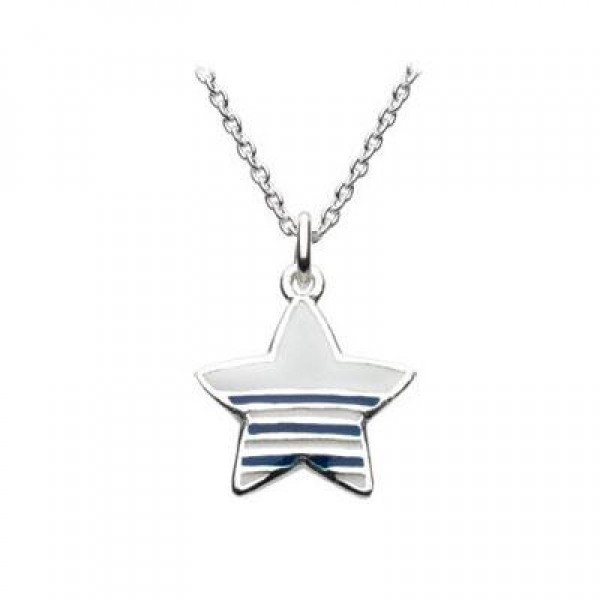 Kids Jewelry - Silver Enameled Nautical Star Necklace (14 or 16 Inch)