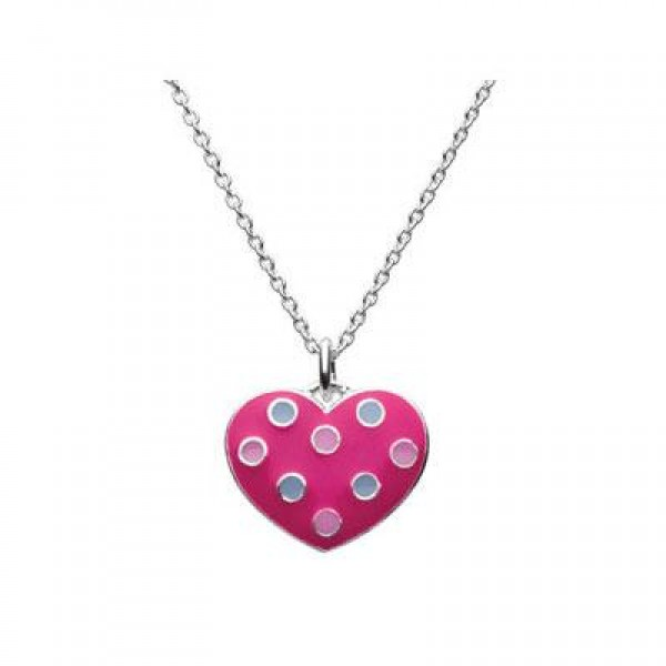 Silver Fuchsia Polka Dot Heart Pendant Girls Necklace (14 or 16 in)