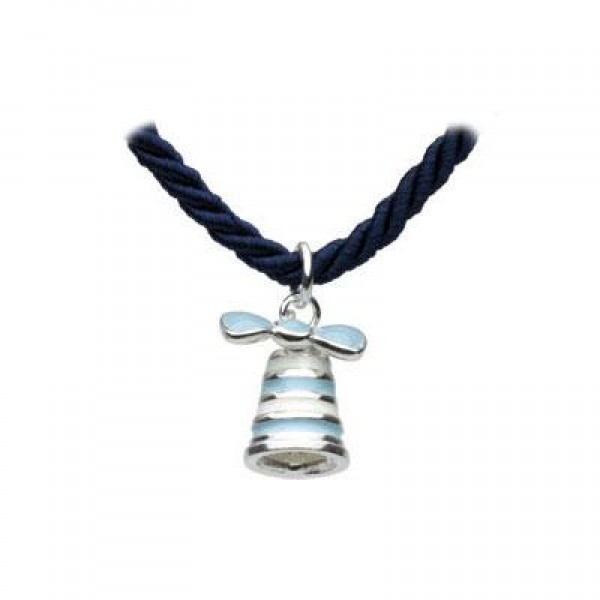 Silver Blue Bow Bell Navy Cord Children Necklace For Girls (12 or 14 in)
