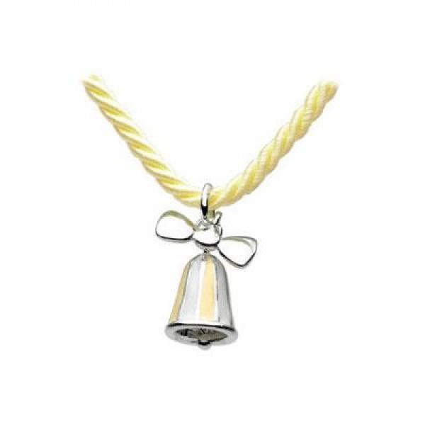 Kids Jewelry - Silver Yellow Bow Bell Yellow Cord Necklace (12 or 14 in)