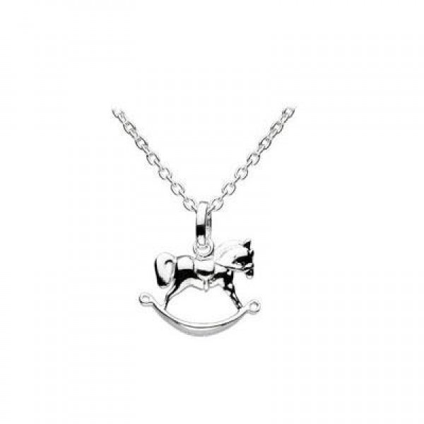 12-14 Inches Silver Trace Chain Rocking Horse Pendant Kids Necklace