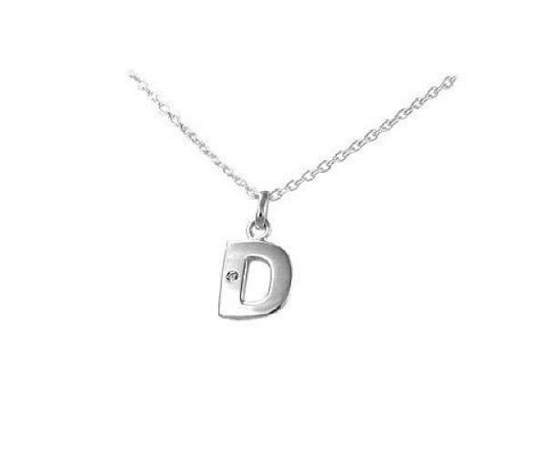 Children's Silver Diamond Initial D Pendant Necklace (14,16,18 in)