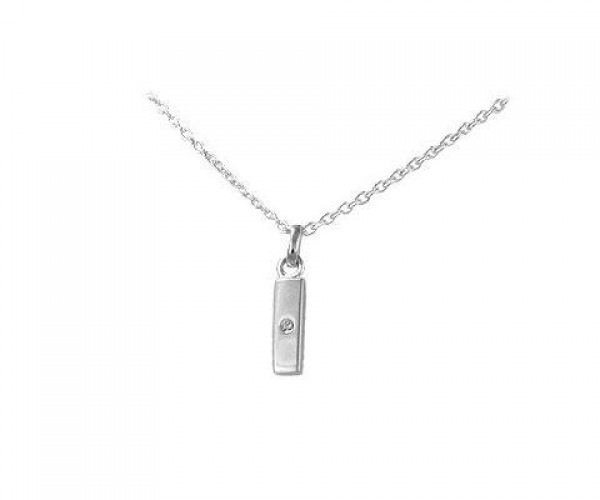Children's Silver Diamond Initial I Pendant Necklace (14,16,18 in)