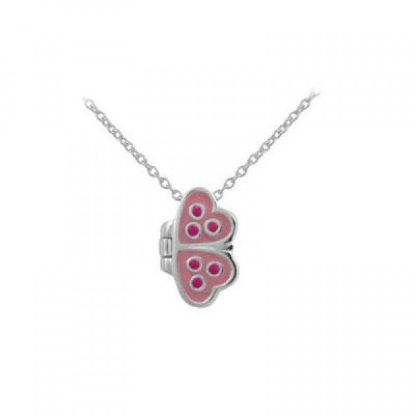 12-18 Inches Girl's Silver Pink Enameled Butterfly Open Up Necklace