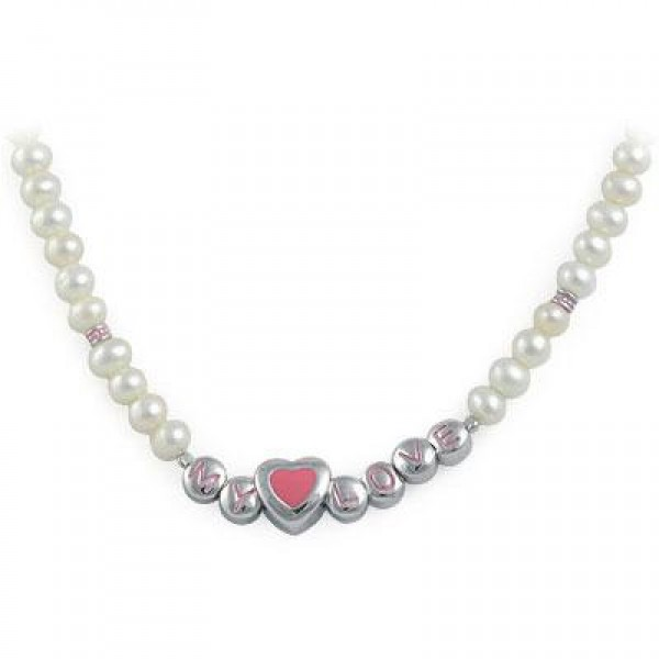 Kids Jewelry - Silver Cultured Pearl Heart My Love Beads Necklace For Girls