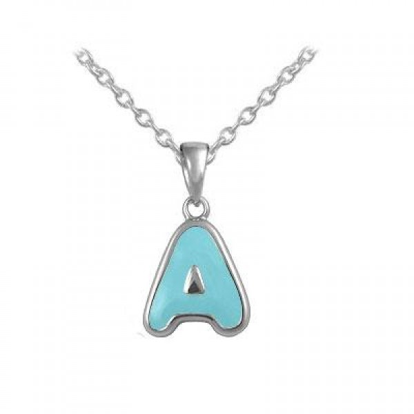 Girls Jewelry - Silver Color Enamel Initial A Pendant Necklace (12-18 in)