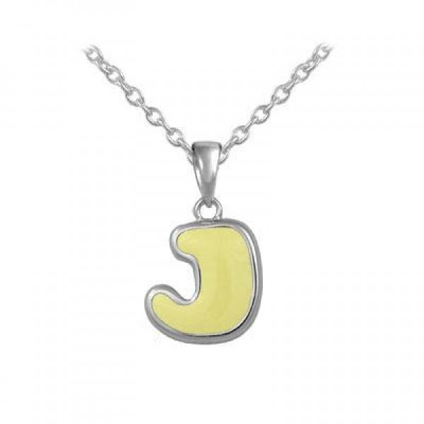 Girls Jewelry - Silver Color Enamel Initial J Pendant Necklace (12-18 in)