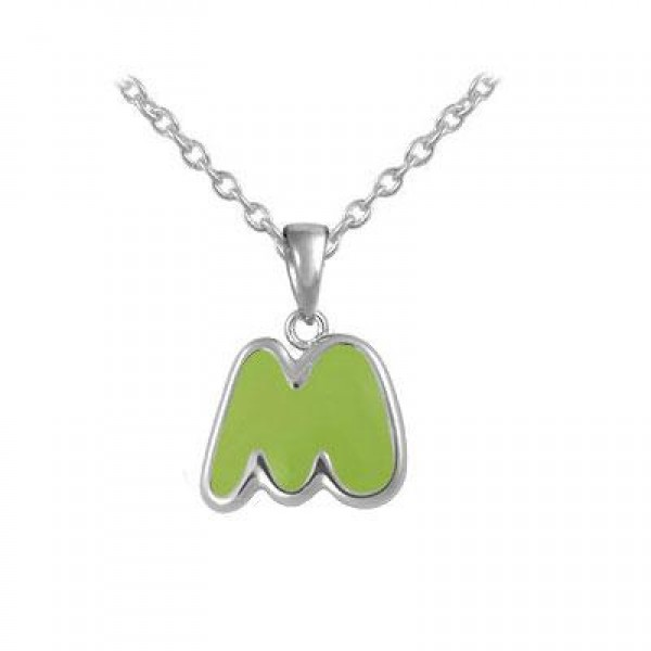 Girls Jewelry - Silver Color Enamel Initial M Pendant Necklace (12-18 in)