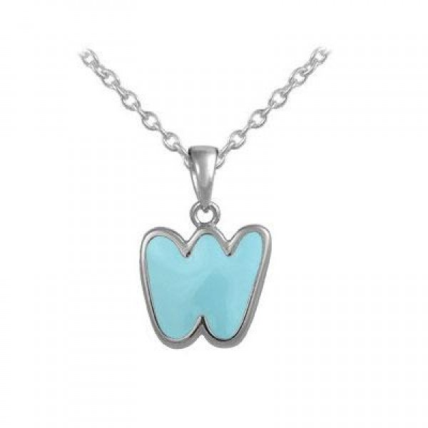 Girls Jewelry - Silver Color Enamel Initial W Pendant Necklace (12-18 in)