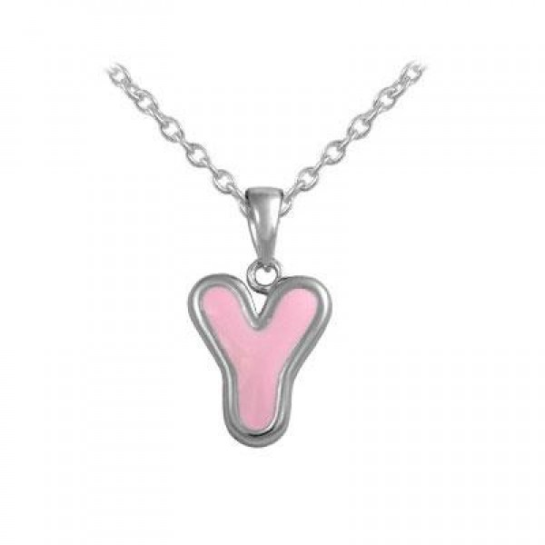 Girls Jewelry - Silver Color Enamel Initial Y Pendant Necklace (12-18 in)
