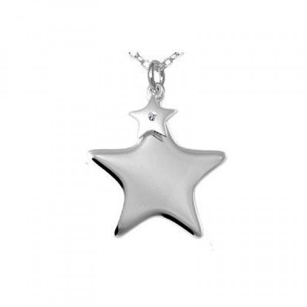 Child Jewelry - Silver Diamond Double Star Pendants Necklace (14 to 16 in)