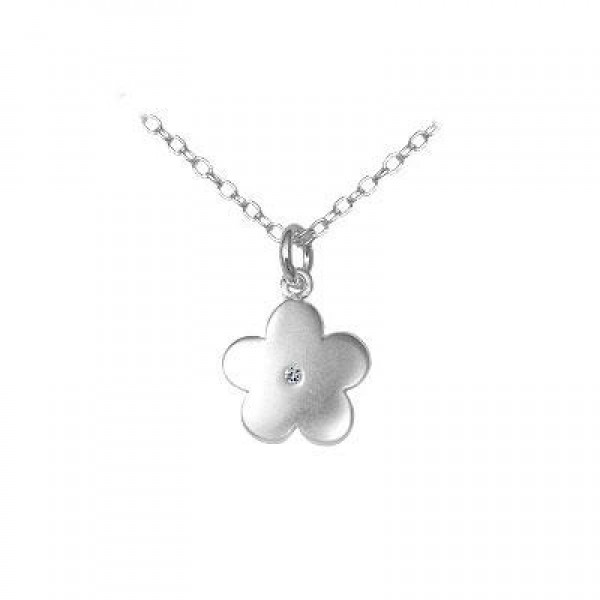 Children's Jewelry - Silver Diamond Flower Pendant Necklace (14 to 16 In)