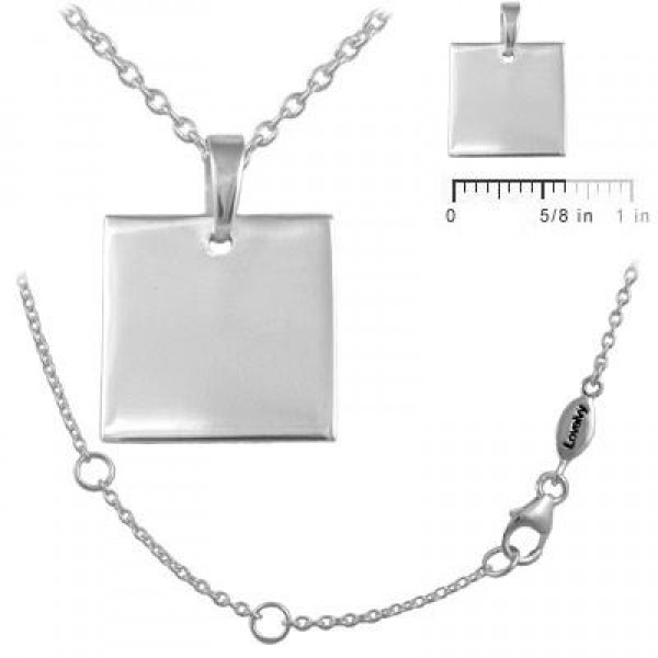 Boys And Girls Sterling Silver Square Dog Tag Necklace (12 to 18 in)
