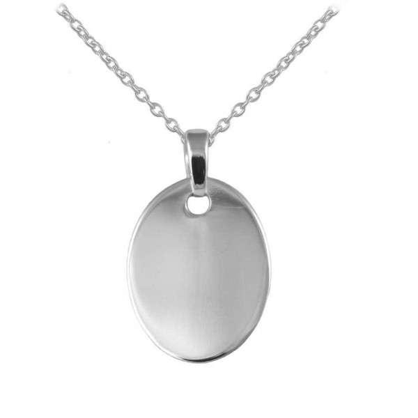 Boys And Girls Sterling Silver Oval Tag Pendant Necklace (12 to 18 in)