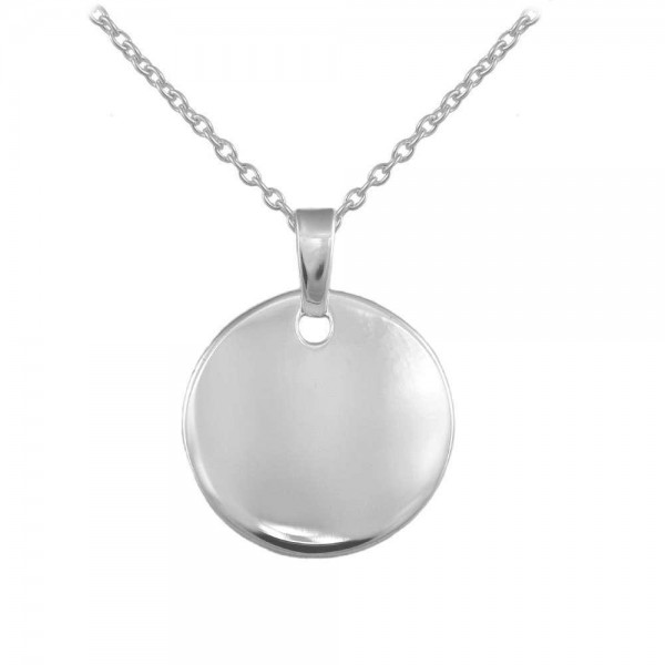 Children & Teens Sterling Silver Round Tag Necklace For Boys & Girls (12-18 in)