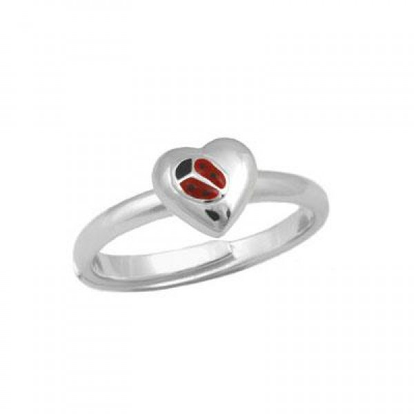 Silver Enameled Ladybug Heart Girls Ring Adjustable Size 3 To 7