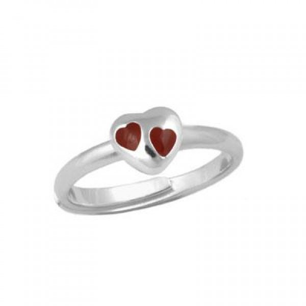 Children & Teens Silver Red Heart Adjustable Ring For Girls (Size 3-7)