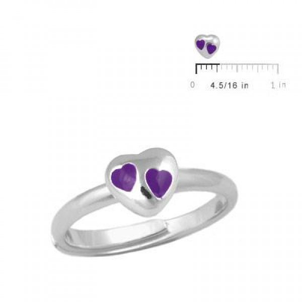 Children & Teens Silver Purple Heart Adjustable Ring For Girls (Size 3-7)