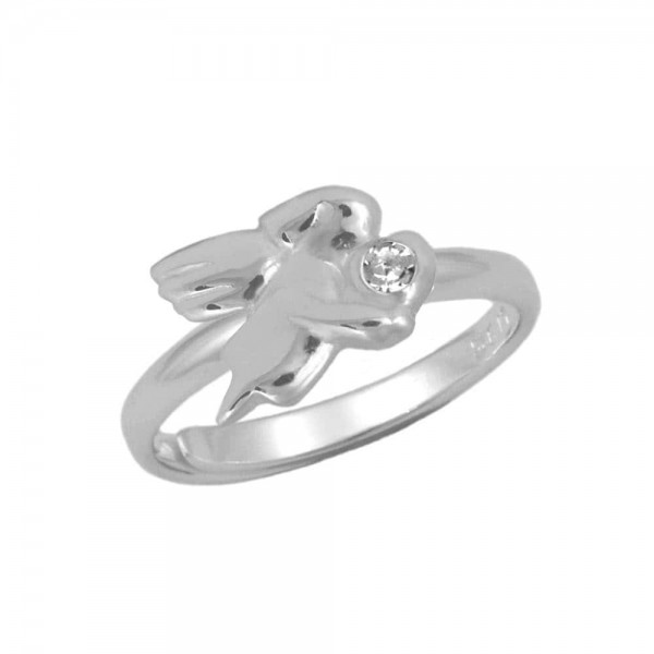 Silver April Birthstone Girls Angel Ring Adjustable Size 3 To 7