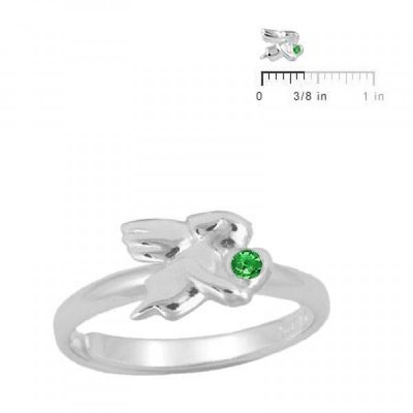 Silver May Birthstone Girls Angel Ring Adjustable Size 3 To 7