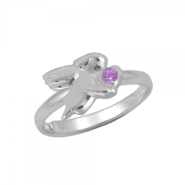 Silver June Birthstone Girls Angel Ring Adjustable Size 3 To 7