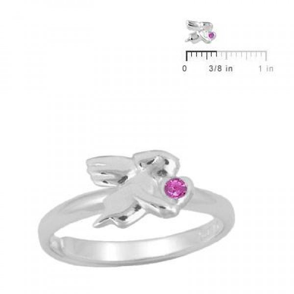 Silver July Birthstone Girls Angel Ring Adjustable Size 3 To 7