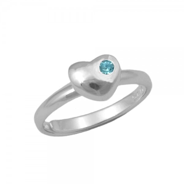 Girls Sterling Silver March Birthstone Heart Ring Adjustable Size 3 To 7
