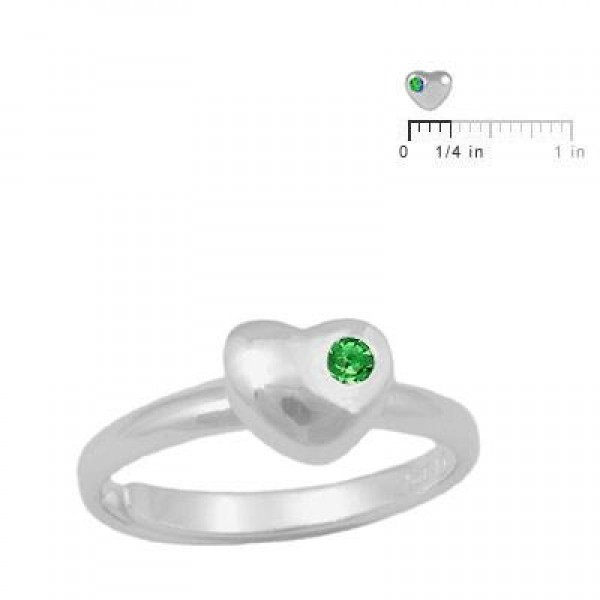 Girls Sterling Silver May Birthstone Heart Ring Adjustable Size 3 To 7