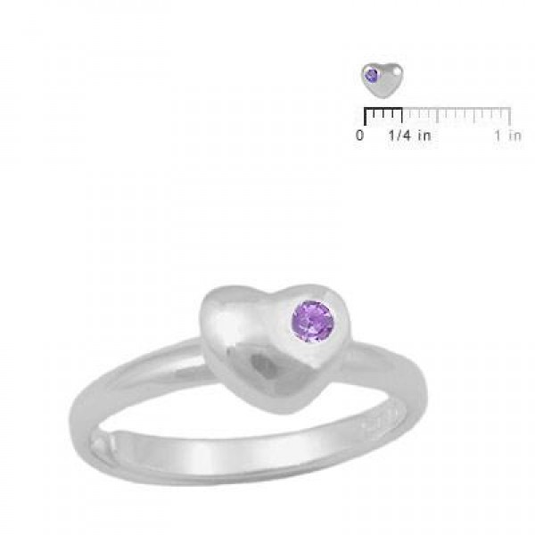 Girls Sterling Silver June Birthstone Heart Ring Adjustable Size 3 To 7