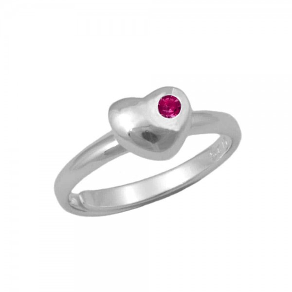 Girls Sterling Silver July Birthstone Heart Ring Adjustable Size 3 To 7