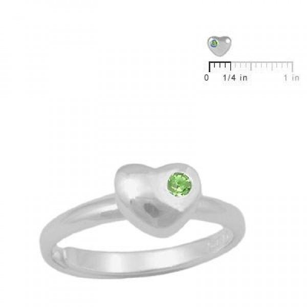 Girls Sterling Silver August Birthstone Heart Ring Adjustable Size 3 To 7