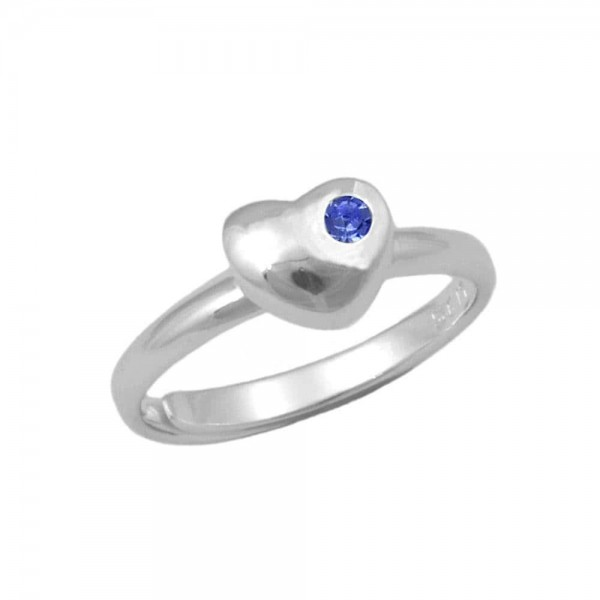 Girls Sterling Silver September Birthstone Heart Ring Adjustable Size 3 To 7
