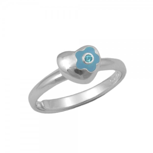 Sterling Silver Flower Heart March Birthstone Girls Ring Size 3-7