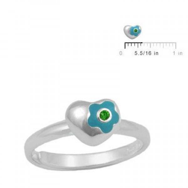 Sterling Silver Flower Heart May Birthstone Girls Ring Size 3-7