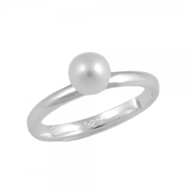 Sterling Silver 5mm White Cultured Pearl Adjustable Girl's Ring (Size 3 To 7)