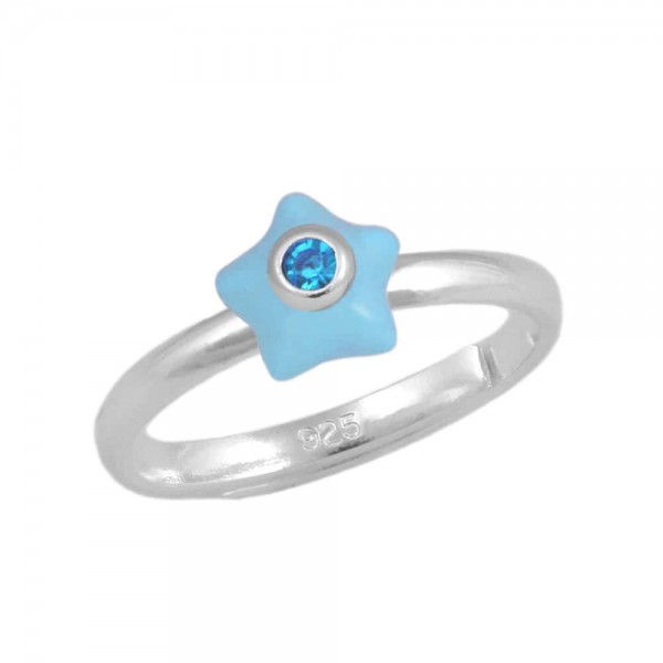 Girl's Sterling Silver March Birthstone Star Adjustable Ring (Size 3-7)