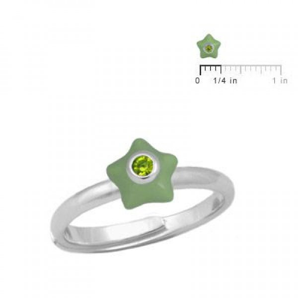 Girl's Sterling Silver August Birthstone Star Adjustable Ring (Size 3-7)