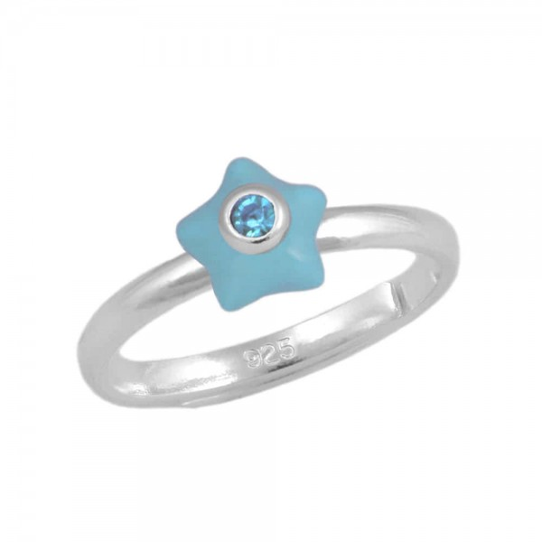 Girl's Sterling Silver December Birthstone Star Adjustable Ring (Size 3-7)