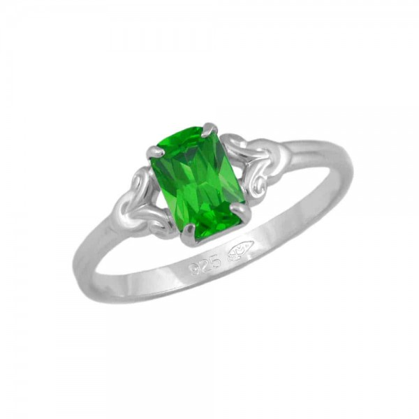 Girls Jewelry - Sterling Silver May Birthstone Ring (size 4)