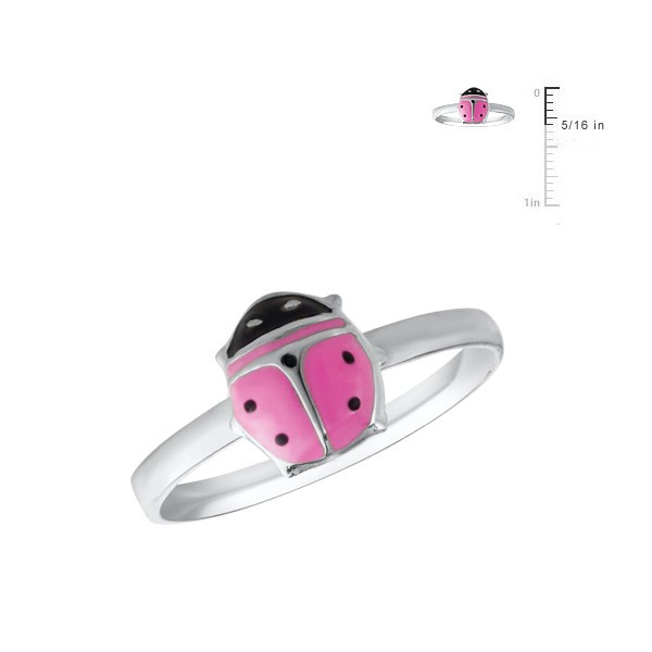 Girl's Jewelry - Sterling Silver Pink Enamel Ladybug Ring (Size 4)