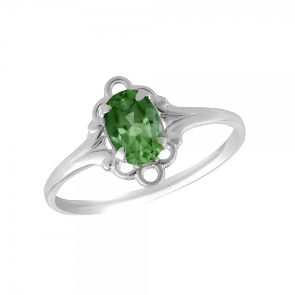 Sterling Silver Oval Shape May Birthstone Ring For Girls (Size 4)