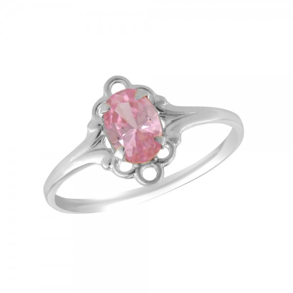 Sterling Silver Oval Shape October Birthstone Ring For Girls (Size 4)