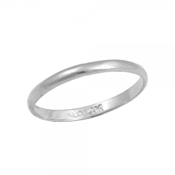 Girls Jewelry - 14K White Gold Band Ring For Children Of All Ages (5 Sizes 1/2-4)