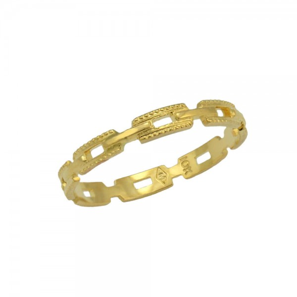 Children Jewelry - 10K Yellow Gold Chain Link Cut Ring for Girls (Size 3)