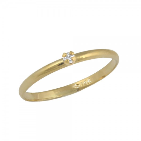 Girl's Jewelry - 10K Yellow Gold Size 3 1/2 Solitaire Diamond Ring