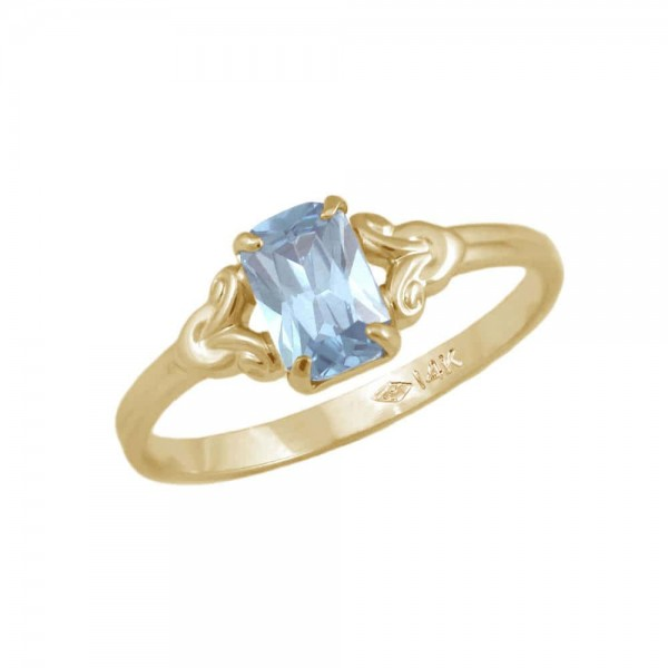 Girls Jewelry - 10K Yellow Gold March Birthstone Ring (size 4)