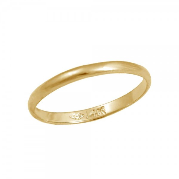 Girls Jewelry - 14K Yellow Gold Band Ring For Children Of All Ages (Size 1/2-4)