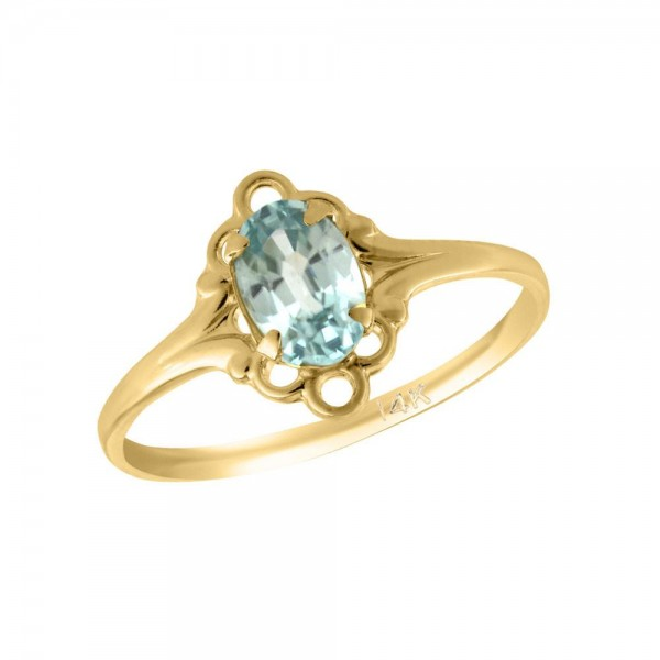 Girl 14K Yellow Gold Oval Shape March Birthstone Genuine Blue Zircon Ring (size 5 1/2)