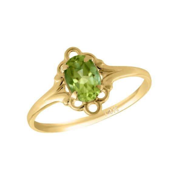 Girl 14K Yellow Gold Oval Shape August Birthstone Genuine Peridot Ring (size 5 1/2)