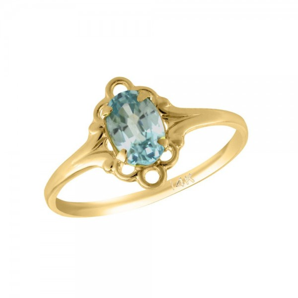 Girl 14K Yellow Gold Oval Shape December Birthstone Genuine Blue Topaz Ring (size 5 1/2)